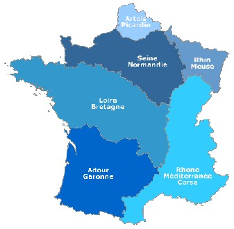 carte des 6 bassins versant en France