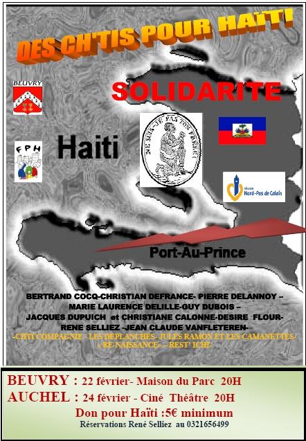affiche solidarité haiti spectacle beuvry auchel BERTRAND COCQ-CHRISTIAN DEFRANCE- PIERRE DELANNOY – MARIE LAURENCE DELILLE-GUY DUBOIS – JACQUES DUPUICH  et CHRISTIANE CALONNE-DESIRE  FLOUR- RENE SELLIEZ -JEAN CLAUDE VANFLETEREN- -CHTI COMPAGNIE - LES DEPLANCHES- JULES RAMON ET LES CAMANETTES-« RE-NAISSANCE» – REST' ICHI-