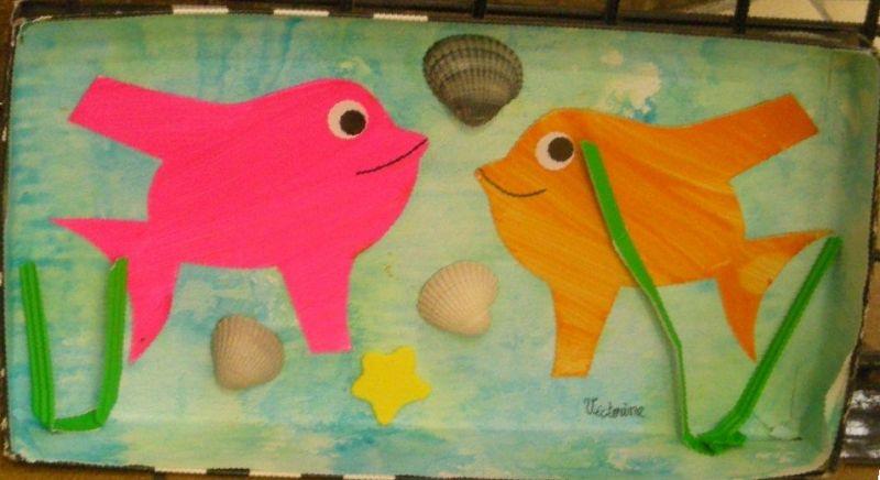 dessin d'enfants poissons